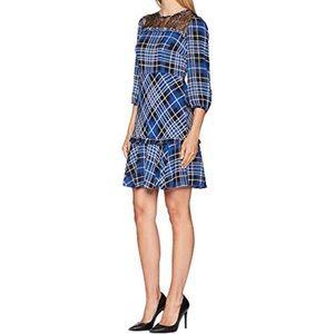 NWT Donna Morgan Plaid Lace Blue Black Dress
